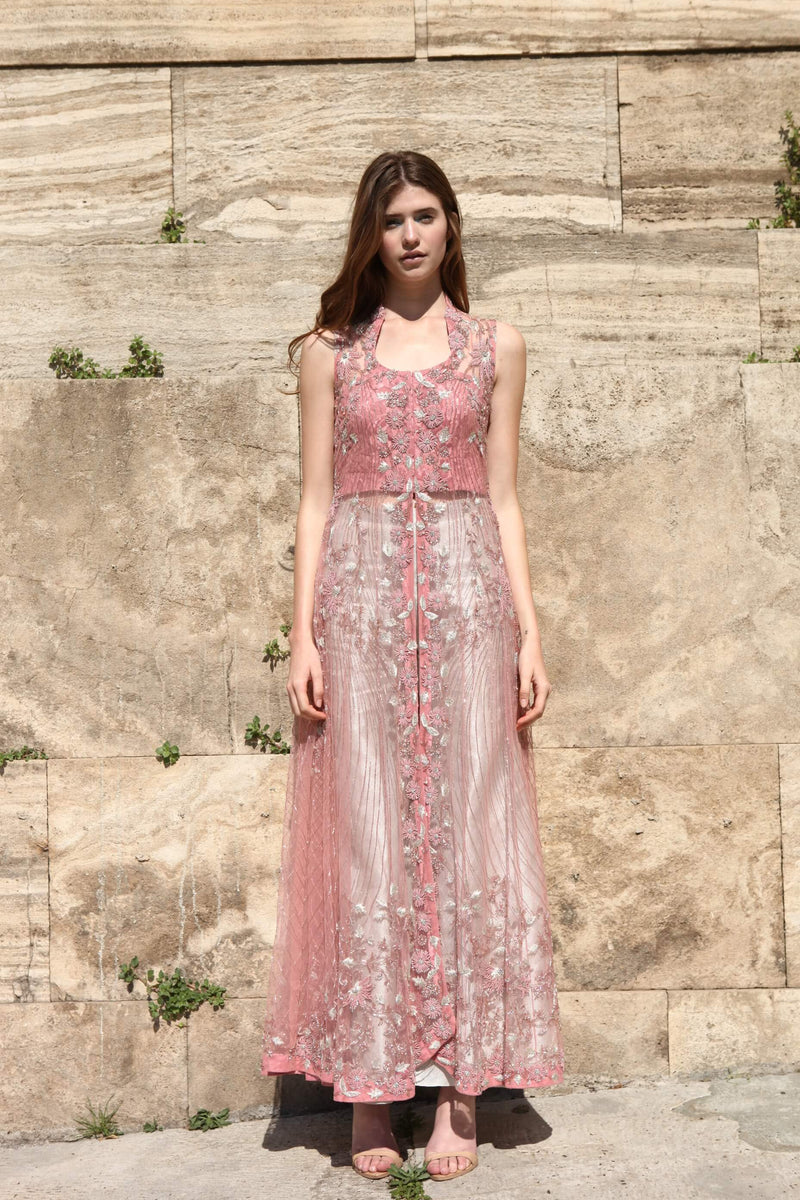 ROZINA PINK EMBROIDERED JACKET WITH PALAZZO PANTS