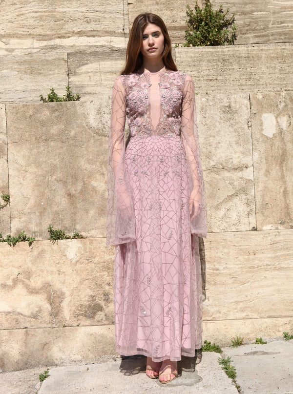 Rozina - Lilac Embroidered Net Gown With Cape - INDIASPOPUP.COM