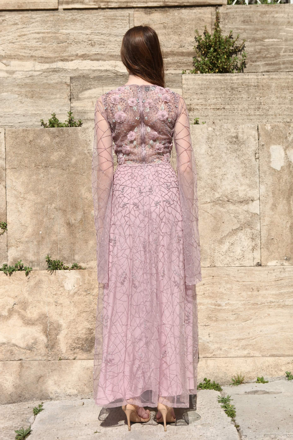 ROZINA LILAC EMBROIDERED NET GOWN WITH CAPE