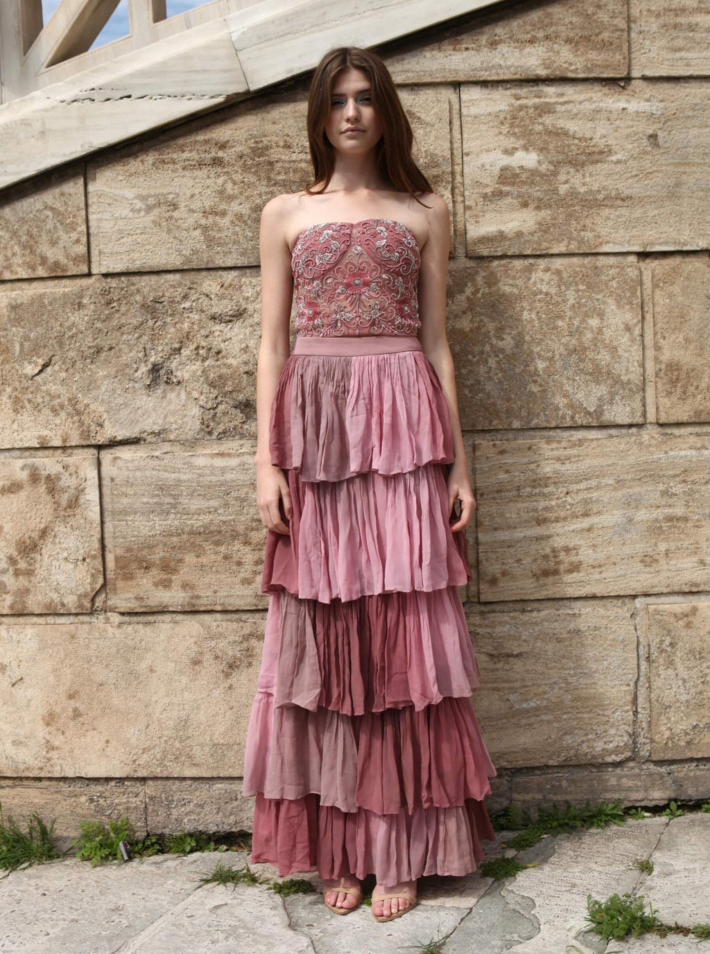 ROZINA ROSE PINK LAYERED SKIRT WITH CORSET TOP