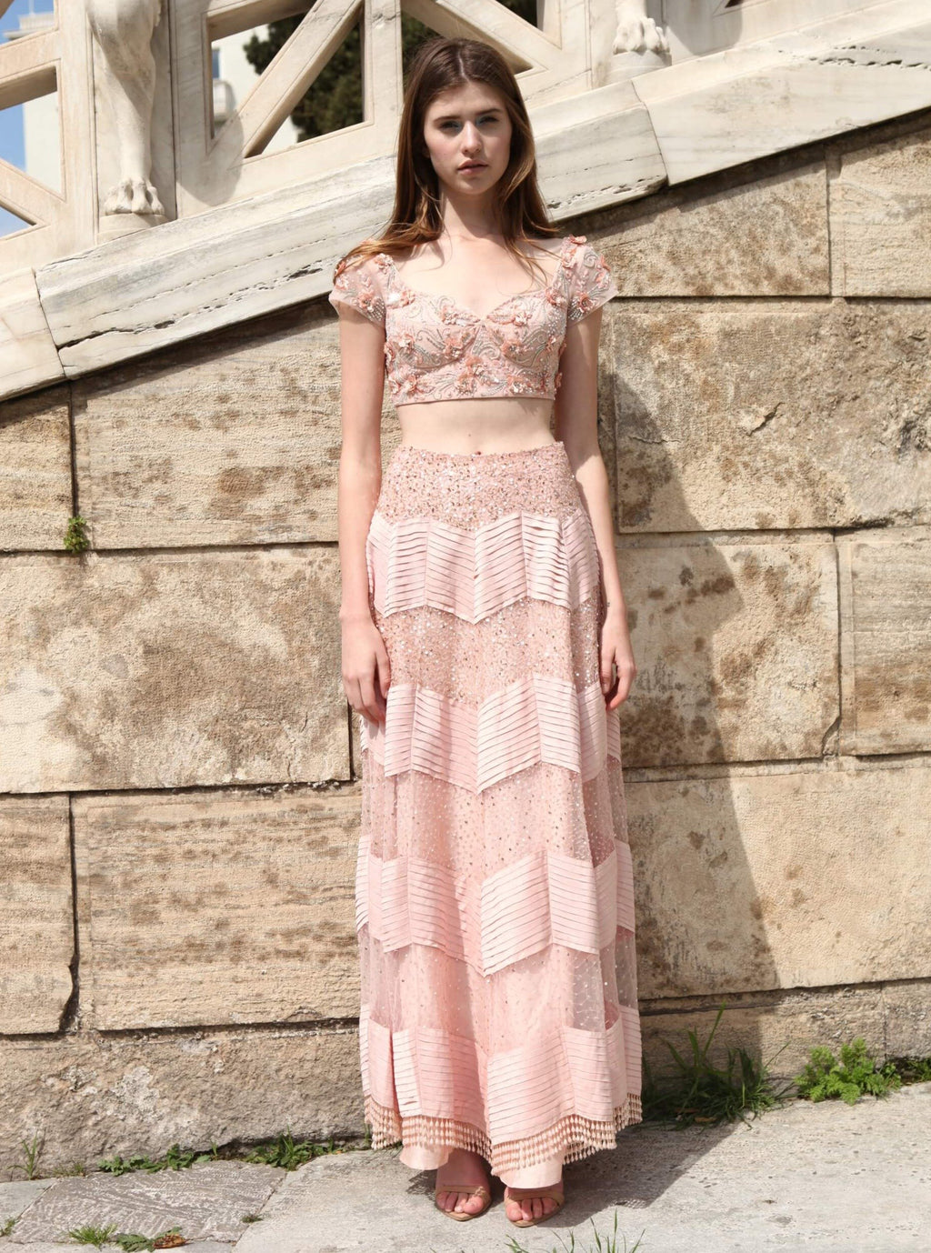 ROZINA PEACH EMBROIDERED NET SKIRT & BLOUSE
