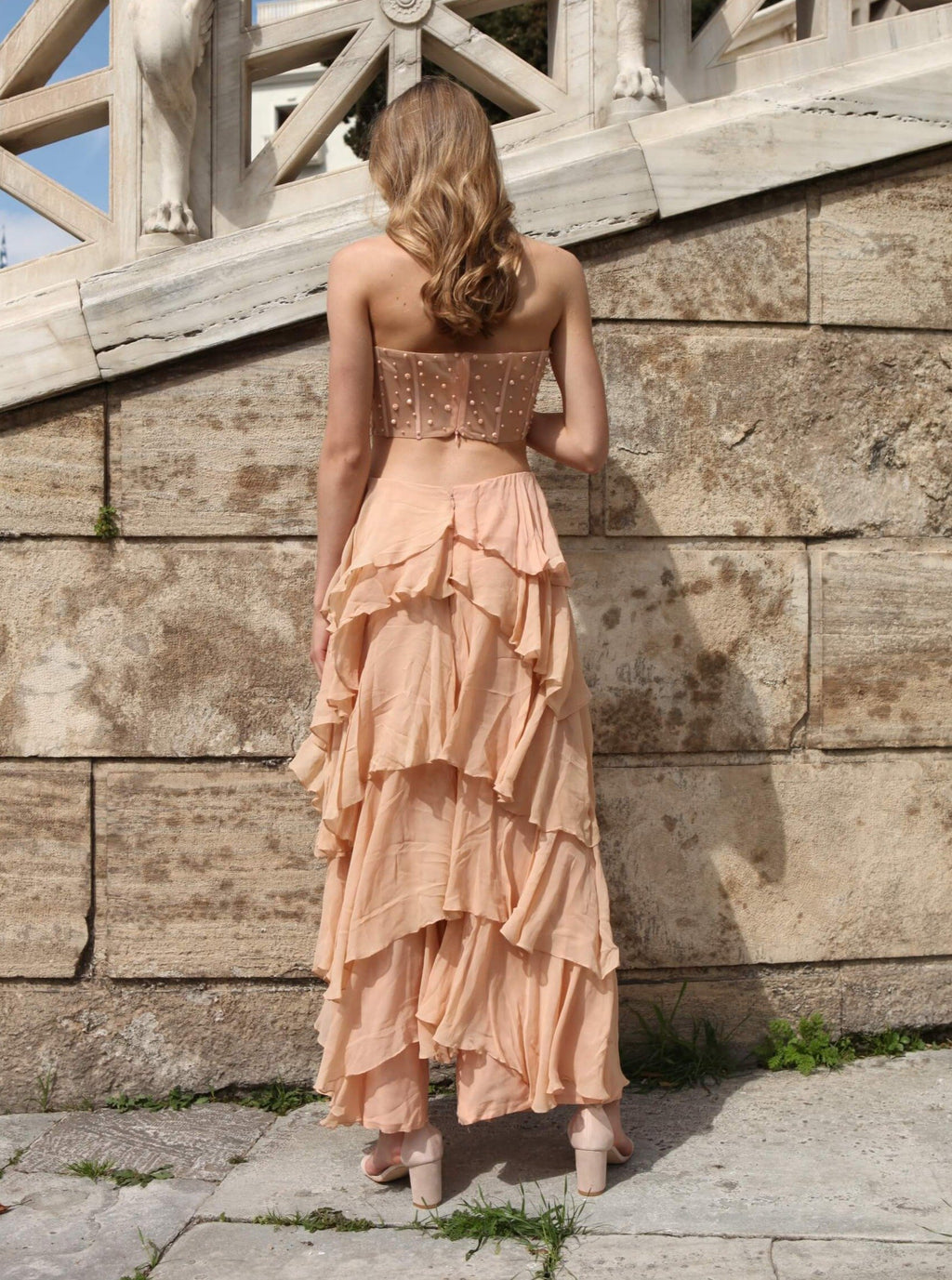 ROZINA PEACH LAYERED PANTS WITH CORSET TOP