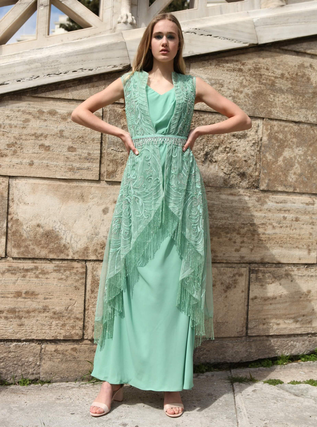 ROZINA GREEN CREPE GOWN WITH NET JACKET