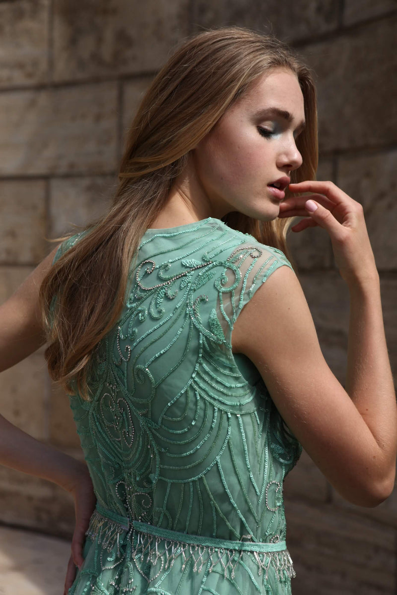 Rozina - Green Crepe Gown With Net Jacket - INDIASPOPUP.COM