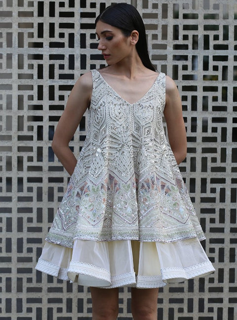 Varun & Nidhika-Ivory Short Kalidar With Dress-INDIASPOPUP.COM