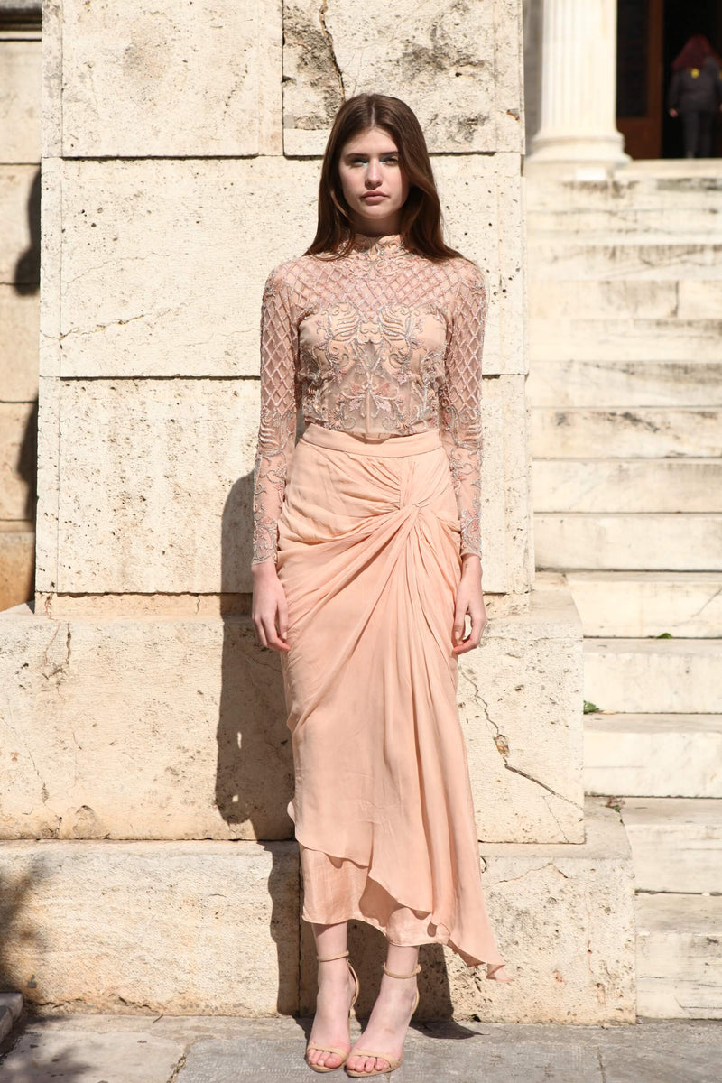 ROZINA PEACH EMBROIDERED NET CHOLI & KNOT SKIRT