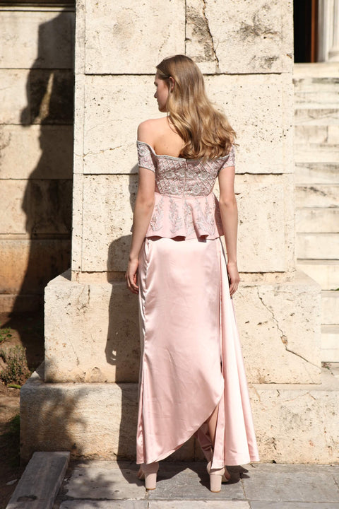 Rozina - Pink Embroidered Cowl Skirt & Top - INDIASPOPUP.COM