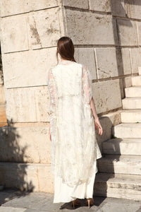 Rozina - Off-White Cowled Gown With Net Cape - INDIASPOPUP.COM