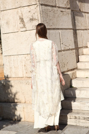 Off-White Cowled Gown With Net Cape