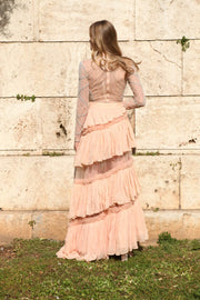 Rozina - Peach Embroidered Blouse With Layered Skirt - INDIASPOPUP.COM