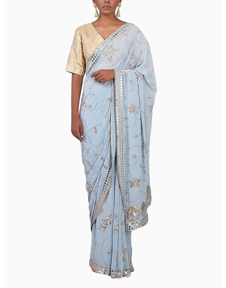 Umrao Couture - Blue Embroidered Saree With Blouse - INDIASPOPUP.COM
