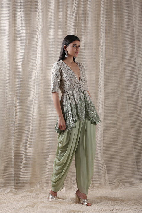 Varun & Nidhika-Mint Green Coast Top With Dhoti Pants-INDIASPOPUP.COM