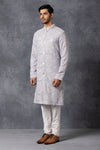Ankit V Kapoor-Grey Kurta With Churidar-INDIASPOPUP.COM