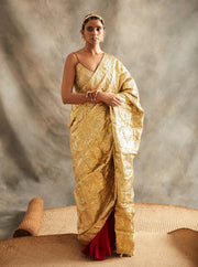 Itrh-Red & Gold Saree With Blouse-INDIASPOPUP.COM