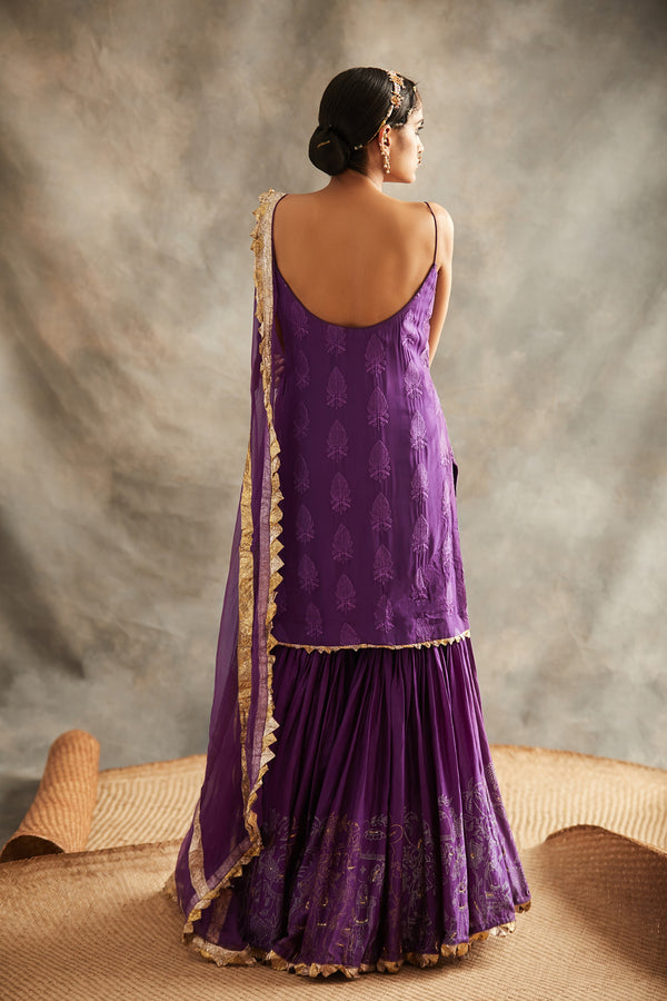 Itrh-Purple Kurti With Sharara & Dupatta-INDIASPOPUP.COM