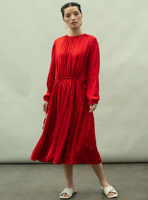 Kanelle-Red Tulip Solid Dress-INDIASPOPUP.COM
