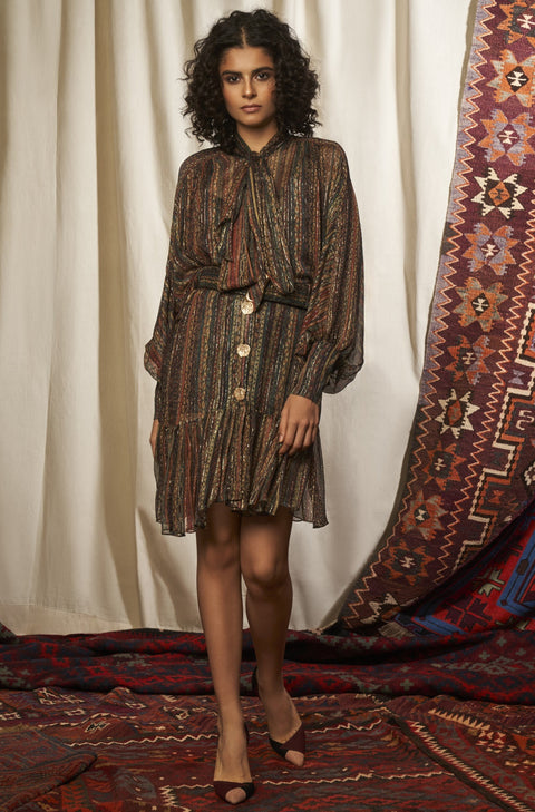 Nikita Mhaisalkar-Turkish Bow Dress With Belt-INDIASPOPUP.COM