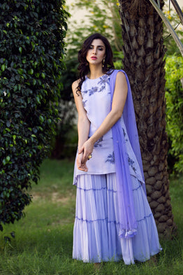 K-ANSHIKA EMBROIDERED LAVENDER SHARARA SET