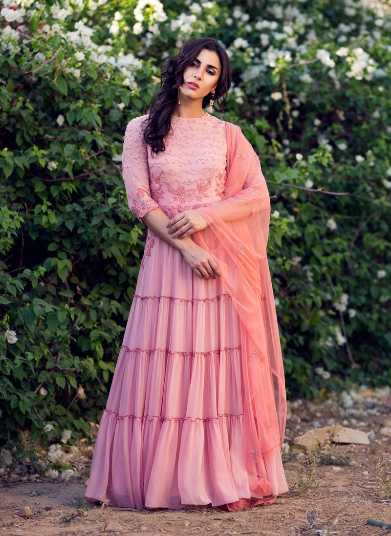 K-Anshika - Dusty Rose Tiered Anarkali Set - INDIASPOPUP.COM