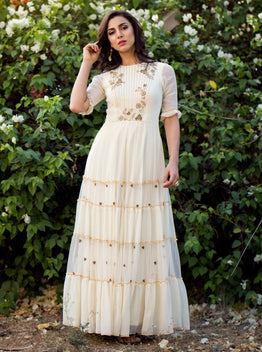 K-ANSHIKA IVORY TIERED ANARKALI SET
