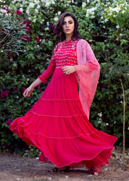 K-ANSHIKA RED & PINK TIERED ANARKALI SET