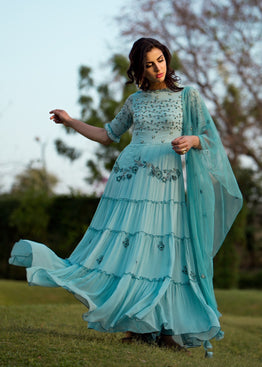 K-ANSHIKA BLUE TIERED ANARKALI SET