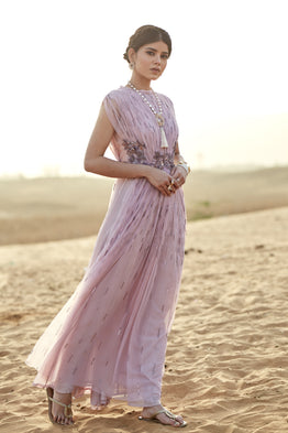 K-ANSHIKA LAVENDER EMBROIDERED MAXI DRESS