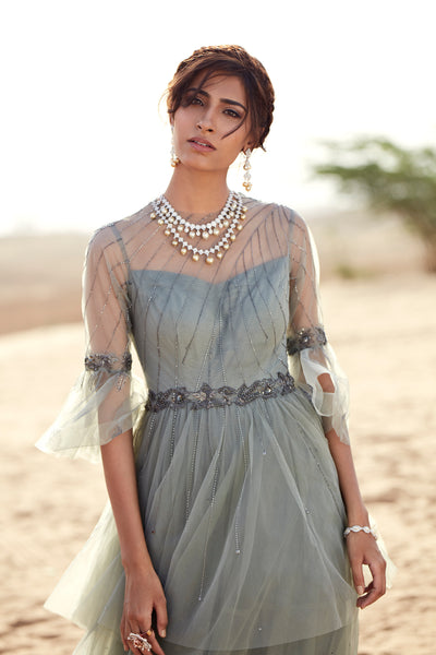 Grey Net Layered Gown