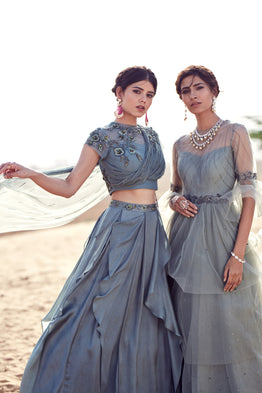 K-ANSHIKA GREY NET LAYERED GOWN