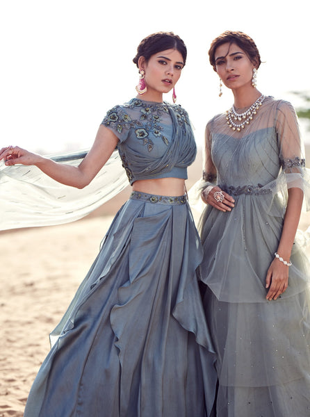 Grey Floral Embroidered Lehenga
