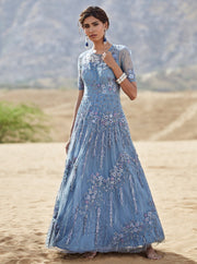 K-Anshika - Grey Floral Embroidered Gown - INDIASPOPUP.COM