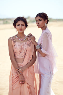 K-ANSHIKA PEACH DRAPED SAREE GOWN
