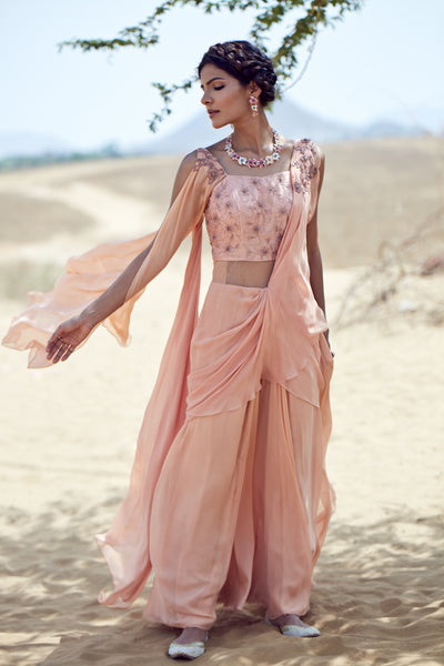 Peach Draped Saree Gown