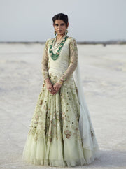 K-Anshika - Lime Green Embroidered Draped Bridal Gown - INDIASPOPUP.COM
