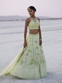 K-ANSHIKA LIME GREEN EMBROIDERED LEHENGA SET