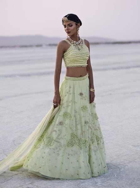 Lime Green Embroidered Lehenga Set