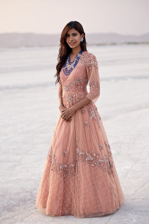 K-Anshika - Peach Embellished Asymmetrical Gown - INDIASPOPUP.COM