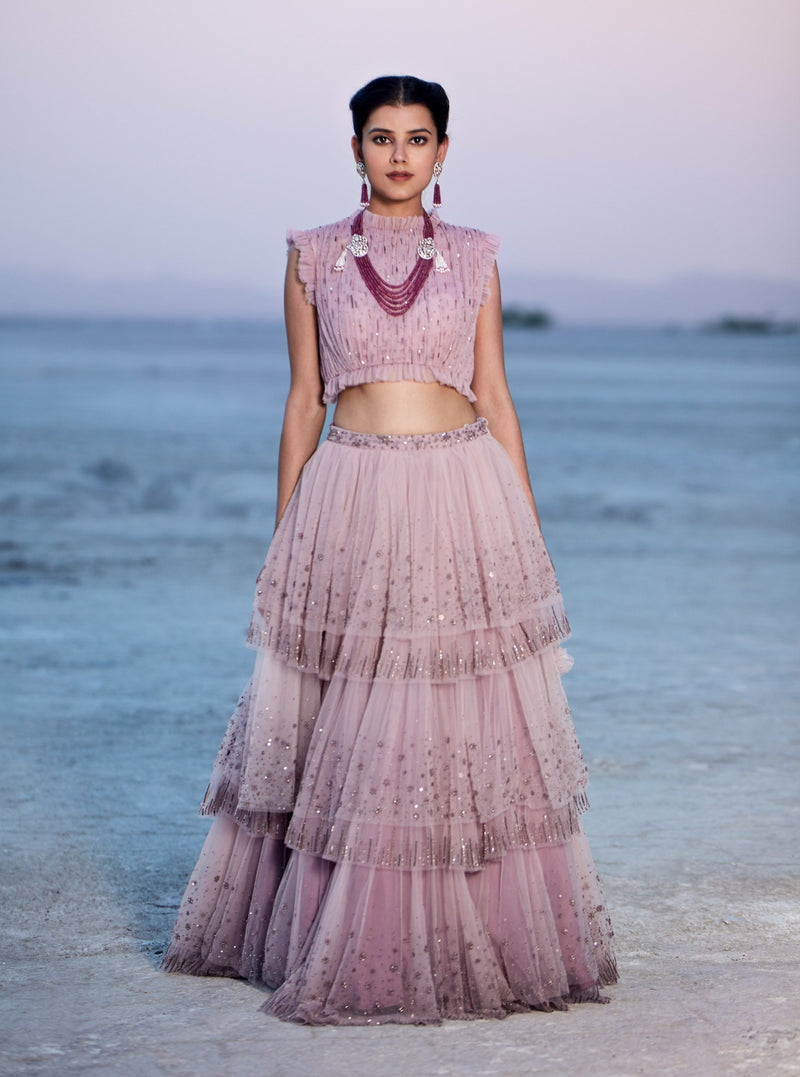 K-ANSHIKA ONION PINK EMBROIDERED LAYERED LEHENGA SET