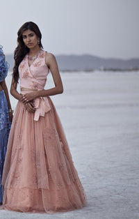 K-Anshika - Peach Layered Lehenga With Rapron Top - INDIASPOPUP.COM