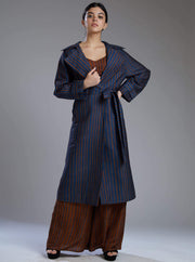 Koai-Blue & Brown Mugga Silk Stripe Coat-INDIASPOPUP.COM