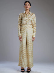 Koai-White Pants With Mustard Polka Dot-INDIASPOPUP.COM