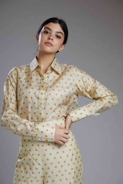 Koai-White Shirt With Mustard Polka Dot-INDIASPOPUP.COM