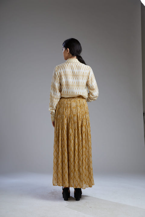 Koai-Yellow Crinkled Dabu Skirt-INDIASPOPUP.COM