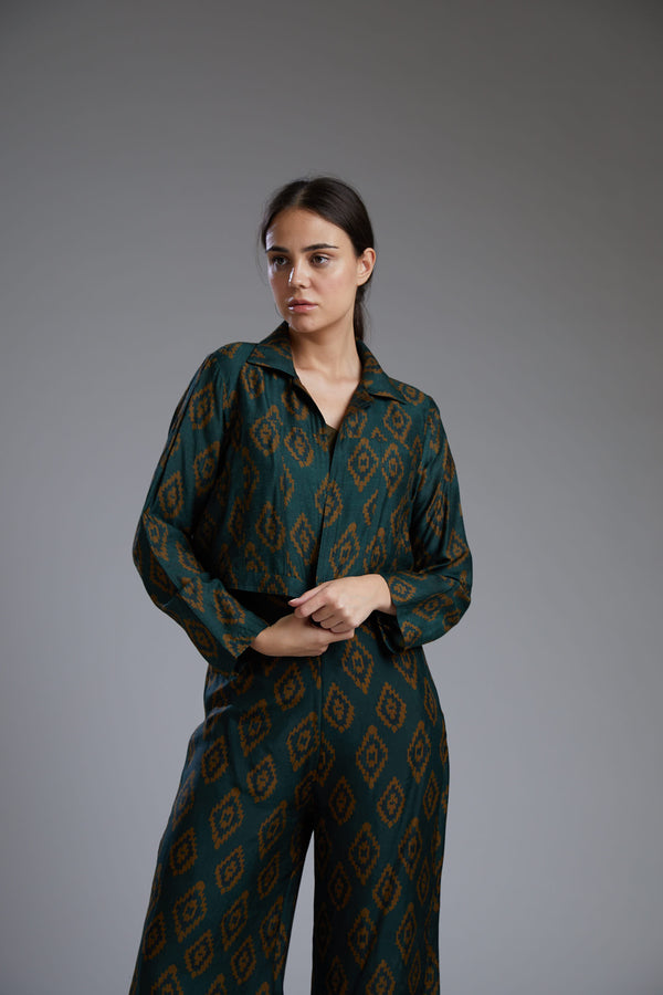 Koai-Dark Green With Yellow Dabu Jacket-INDIASPOPUP.COM