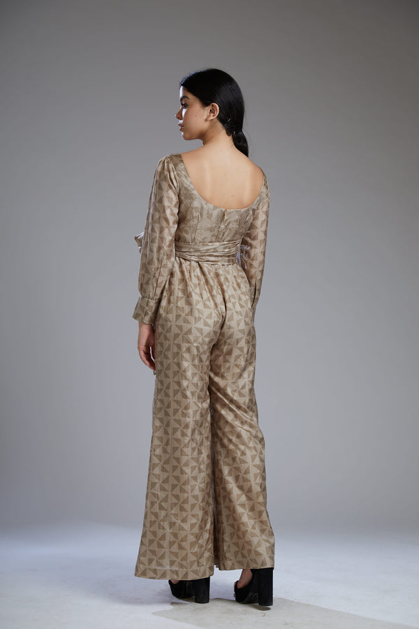 Koai-Grey & Brown Diamond Wrap Jumpsuit-INDIASPOPUP.COM