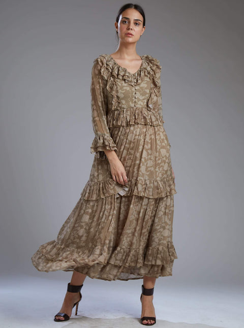 Koai-Grey & Brown Floral Frill Dress-INDIASPOPUP.COM