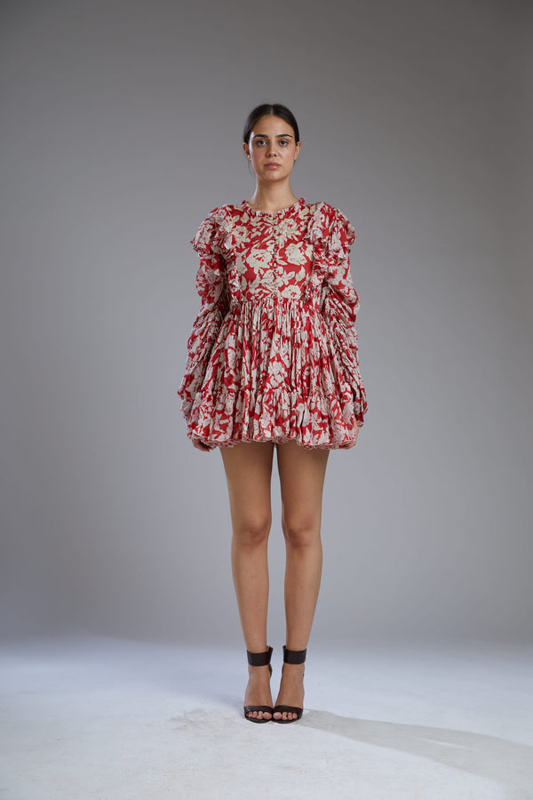 Koai-Red & White Floral Dress-INDIASPOPUP.COM