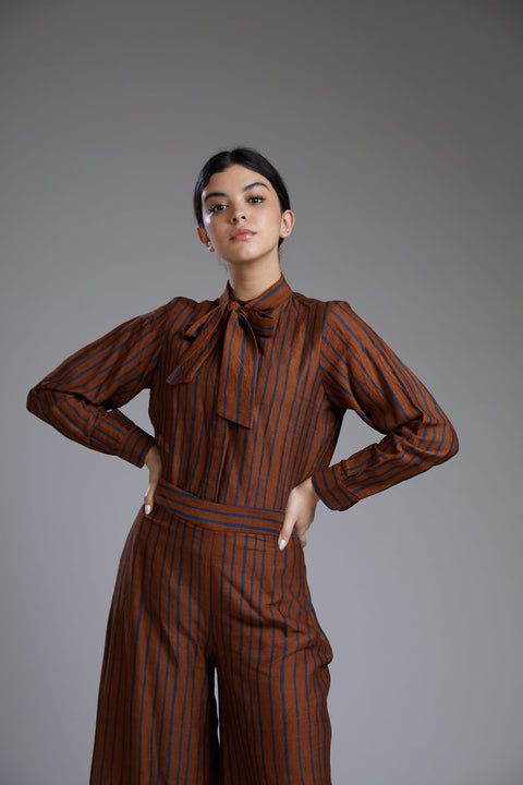 Koai-Orange & Blue Striped Bow Shirt-INDIASPOPUP.COM