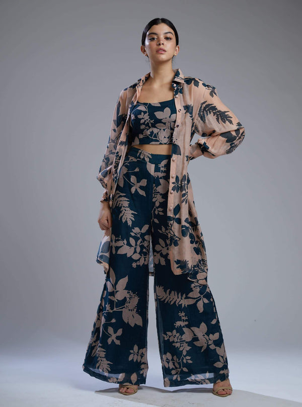Koai-Teal & Pink Floral Pants Set With Bustier-INDIASPOPUP.COM