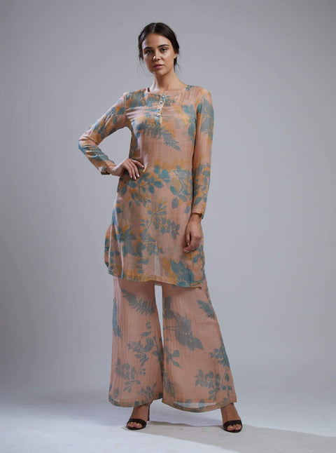 Koai-Cream & Teal Floral Kurta Set With Bustier-INDIASPOPUP.COM